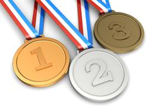 Symbol  sport champion. Golden, silver, bronze medals � first, second, third places of sport champion Stock Photography