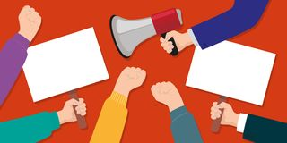 Symbol of the strike with signs and a megaphone stock illustration