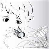 A symbol of summer, the child with a butterfly on a hand. Stock Images