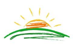 Symbol sun. Vector illustration on white Stock Photos