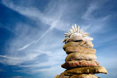 Symbol of the Sun. On the top of the pyramid of stones Royalty Free Stock Image