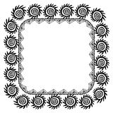 Symbol of the sun Beautiful card with native zigzag ornaments. Square frame for your text. Hand drawn banner template with ethnic. Aztec border. Black contour Royalty Free Stock Photography