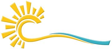 Symbol sun and sea. A symbol of dawn sun with the blue sea royalty free illustration