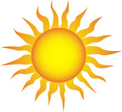 Symbol of the sun on a white background Stock Photos