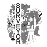 Symbol for surveyor. Geodesic device and map Stock Images