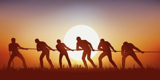Symbol of teamwork with a group of six men pulling rope. royalty free illustration