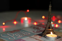 Symbol of terror in Paris. With candles and Eiffel tower - landscape orientation, copy space stock photography