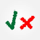 Symbol tick and cross. Checkmark painted with a brush. Grunge. Royalty Free Stock Photos