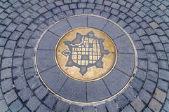 Symbol of Timisoara, Romania, representing map of medieval fortr. Close Stock Photography