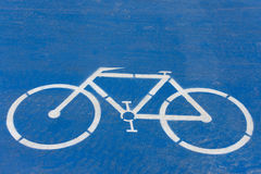 Symbol to indicate the road for bicycles. Royalty Free Stock Photos