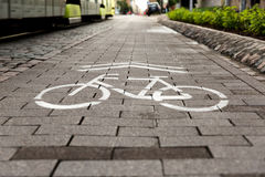 Symbol to indicate the road for bicycles, urban transportation Royalty Free Stock Images