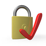 Symbol to represent a securely checked padlock Stock Image