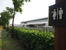 Symbol to tell the male and female toilets in the park,design sy Stock Photo