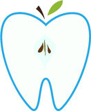 Symbol of a tooth in the form of an apple. Royalty Free Stock Photo