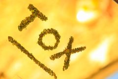 Symbol of toxic with flowers of cannabis stock images