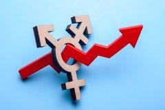 Symbol transgender i czerwieni strzała wzrostowy wykres up na błękicie Przyrost ludzie z zmianą rodzaj fotografia royalty free