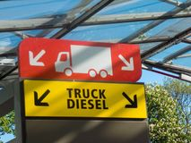 Symbol of the truck diesel fuel in a filling station. Berlin, Germany - May 5, 2018: Symbol of the truck diesel fuel in a filling station stock photography