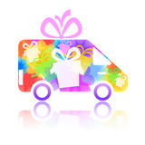 Symbol of a truck. With a gift box and flowers Stock Photos