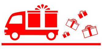 Symbol with truck and gift box Stock Images
