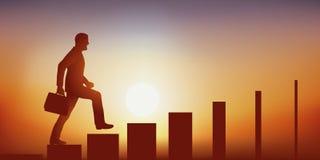 Symbol trudność dodzwonienia przywódctwo z mężczyzną symbolicznie wspina się schodki czyj kroki zwężają się, royalty ilustracja