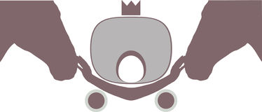 Symbol . Two heads of horse and carriage. Symbol . Two heads of horse and carriage with crown royalty free illustration