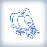 Symbol of two lovely pigeons Stock Photo