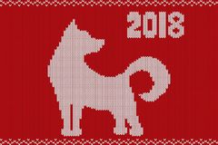 The symbol of the two thousand and eighteenth year of the dog. Made in the form of knitted texture. Vector illustration Royalty Free Stock Images