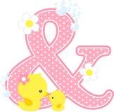 Symbol u. mit netter Babyente und -mutter lizenzfreie abbildung