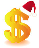 Symbol of the U.S. dollar in the red cap of Santa. Golden symbol of the U.S. dollar in the red cap of Santa on a white background Royalty Free Stock Photo