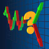 Symbol of uncertainty of further dynamics. The chart ends with a question of up or down Royalty Free Stock Photo