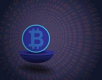 Symbol und binär Code Bitcoin Lizenzfreies Stockbild