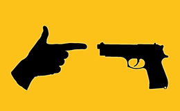 Unequal battle. Symbol of an unequal battle between a true gun and a human hand with fingers set in a pistol Vector Illustration