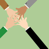 Symbol of unity, teamwork - a lot of hands together Stock Image