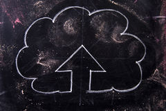 Symbol of the upload. Graphic representation with chalk on blackboard symbol of the upload line Stock Image