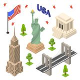 Symbol of USA Icons Set Concept Travel Isometric View. Vector Stock Photo