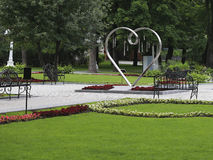Symbol Valentine Sweetheart in a city park. Stock Image