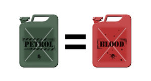 Price of fuel. Symbol of value of a petrol represented by equality between a green traditional jerrycan filled with oil and a red jerrycan filled with human Vector Illustration