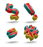 Symbol vector 3D style set. Stock Photos