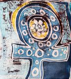 Symbol of venus, hot batik, background texture, handmade on silk, surrealism art royalty free stock photography