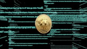 Symbol of virtual currency on the background of computer code. 3d animation. Rotating Bitcoin on a green background stock illustration