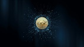 Symbol of virtual currency on the background of particles. 3d animation. 3d animation. Rotating Bitcoin on a abstract. Symbol of virtual currency on the royalty free illustration
