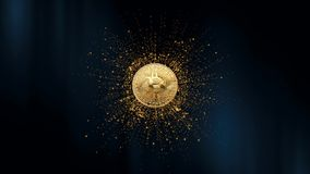 Symbol of virtual currency on the background of particles. 3d animation. 3d animation. Rotating Bitcoin on a abstract. Symbol of virtual currency on the vector illustration