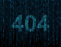 404 symbol. On virtual screen with blue matrix royalty free stock photography
