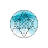 Symbol von Alchimie und von heiliger Geometrie auf dem blauen Aquarellhintergrund Lineare Charakterillustration für Linien Tätowi lizenzfreie abbildung
