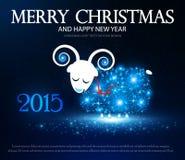 Symbol von 2015 Glänzende Schafe Auch im corel abgehobenen Betrag Lizenzfreie Stockfotos