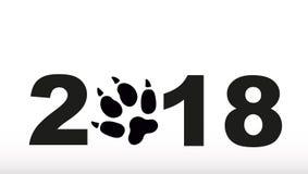 Symbol von 2018-jährigem Schattenbild eines Hundes Stockbild