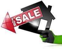 Symbol von vorbildlichen House For Sale Lizenzfreie Stockfotografie