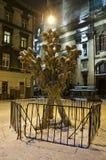 Symbol von Weihnachten - Didukh, in der Mitte von Lemberg-Stadt Lizenzfreies Stockfoto