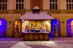 Symbol von Weihnachten - Geburt Christisszene in der Mitte von Lemberg Stockfotografie