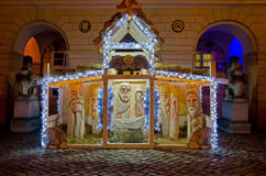 Symbol von Weihnachten - Geburt Christisszene in der Mitte von Lemberg Stockfotos